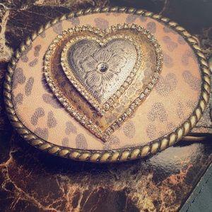 Vera Pelle Dark Brown Belt w/ Leopard Heart Buckle